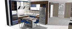Mais um projeto de #cozinha, bancada central #azul