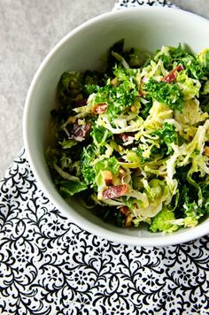 Kale and Brussels Salad with Bacon & Pecorino