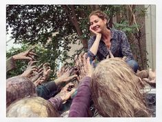 with her adoring walker fans. Jenna Elfman, Fear The Walking Dead, Daryl Dixon, Zombie Apocalypse, Behind The Scenes, Couple Photos, Pictures, Zombie Apocolypse, Couple Shots