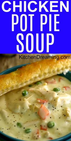 Pot Pie Soup This delicious Chicken Pot Pie Soup is a simple, scratch-made recipe that is comfort food in a bowl. via delicious Chicken Pot Pie Soup is a simple, scratch-made recipe that is comfort food in a bowl. Crockpot Recipes, Chicken Recipes, Cooking Recipes, Healthy Recipes, Easy Chicken Pot Pie Soup, Chicken Pot Pie Soup Recipe Easy, Creamy Chicken Stew, Pureed Recipes, Hearty Soup Recipes
