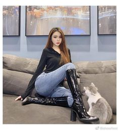 High Leather Boots, High Heel Boots, Heeled Boots, Asian Woman, Asian Girl, Long Gloves, How To Make Shoes, Sexy Boots, Sexy Jeans