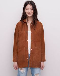Pull&Bear - woman - new products - leather safari jacket - brandy - 05715324-V2015