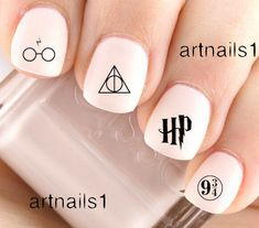 Harry Potter Nail Art Water Decals Stickers Manicure Salon Mani Polish HP Gift - Home White Nail Designs, Simple Nail Art Designs, Nail Designs Spring, Beautiful Nail Designs, Harry Potter Nails Designs, Harry Potter Nail Art, White Nail Art, White Nails, Nail Art Diy