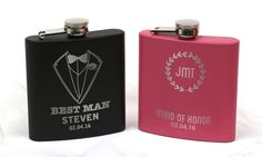 These personalized stainless steel flasks can add a fun, custom touch to your wedding party or after party celebrations