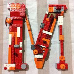 LEGO bricks mosaic 8 wood Letters room decor by FantasyLettersInc