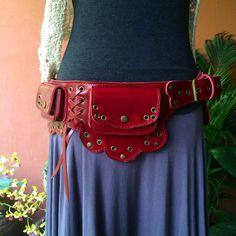 Leather Utility Belt - The Lotus - Festival Hip Belt / Steampunk / Pockets / Fanny Pack