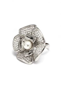 Sterling Silver Alelí Ring with pearl