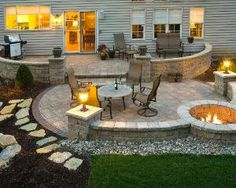 Stone Patio With Fire Pit | HGTV And Decorating Ideas / Love The Stone  Walls And