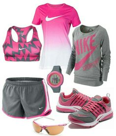 Women's fashion Pink and gray nike outfit http://www.FitnessApparelExpress.com