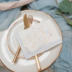 Dessert Menu Card with blue watercolor wash and gold ink by Pour L'Amour