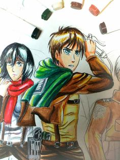 Eren & Mikasa progress art by Kamikita Ryuu