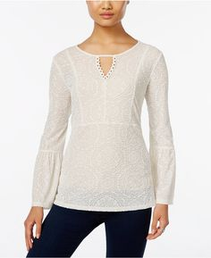 Style & Co. Velvet Patterned Keyhole Top, Only at Macy's ($9.99)