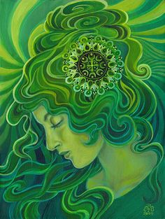Mythological Goddess Art by Emily Balivet - Gaia - Green Goddess