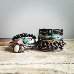 Vintage silver & turquoise bracelets