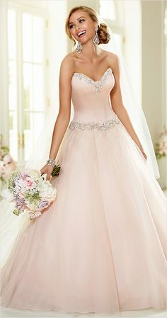 Stella York pink wedding dress http://www.weddingchicks.com/2015/01/16/elegant-wedding-invitations