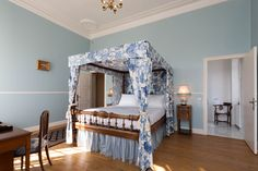 Blue Toile de Joue four poster bed at French Chateau www.chateaurobertfrance.com