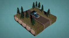 Low-poly animation of a truck's journey through a conveyor belt world  - Animated by Andrew Brand  - Made using Cinema 4D
