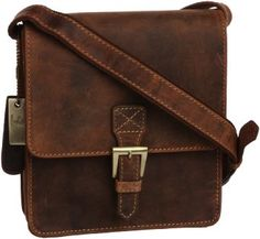 Visconti 18722 Modern Style Small Messenger Bag Made Of Genuine Distressed Leather Tan Clothing