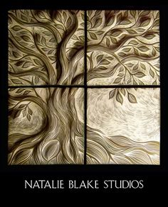 Natalie Blake Studios handmade hand carved Tree of Life tiles ~ perfect to hang on an interior or exterior wall or use for a backsplash