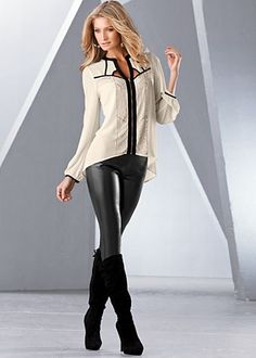 Studded cut out black and white blouse by VENUS available in sizes XS, S, M, L, XL. Faux leather leggings available in sizes 2 - 16. Tie back boots available in black or brown in full and half sizes 5.5 - 9, 10.