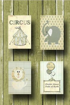 Nursery Art ,Vintage Inspired, Boy Circus 4 Print Nursery Set 8x10 Size. $54.00, via Etsy.