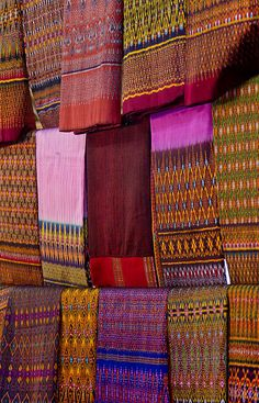 Traditional Thai Silk Patterns (by JJ Harrison) - Handwoven, handmade silk cloth with natural dyes from Ban Tha Sawang, Surin Province, Northeastern Thailand. This photo was taken in 2012 CE.