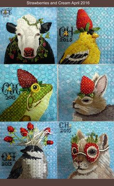 Chaparral Series, Vicki Sawyer needlepoint animals in strawberry hats