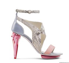 Sandals, Crystal Collection 2013.  Sculpt-heel sandal, with plexi heel and plateau. The upper is made by nappa leather and Kevlar. © Conspiracy