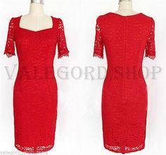 Vestito ROSSO tubino pizzo elegante cerimonia abito anni 50 vintage retrò dress