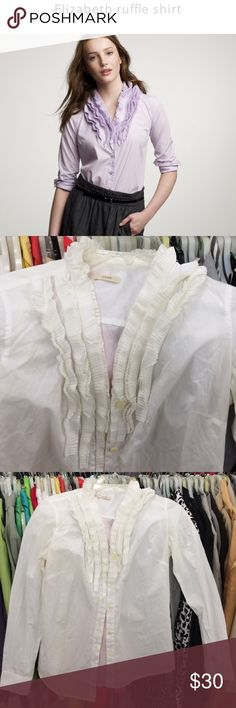 J. Crew ruffle shirt J. Crew shirt • ruffle collar • long sleeves • white • excellent condition • fast same/next day shipping J. Crew Tops