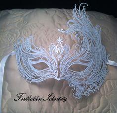 White Masquerade Mask/ Laser cut with white rhinestones Venetian Masquerade Mask Phantom of the Opera. White Masquerade Mask, Venetian Masquerade Masks, 40th Anniversary, Anniversary Parties, Salon Style, Mardi Gras, Laser Cutting, Unique Jewelry, Mask Ideas