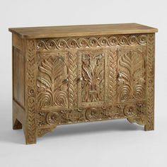 Keep everyday clutter gorgeously tucked away behind the three finely carved doors of our mango-wood cabinet. Cabinet Shelving, Wood Shelves, Display Cabinets, Ikea Furniture, Painted Furniture, Mango Wood Furniture, Oriental Furniture, Furniture Market, Furniture Makeover