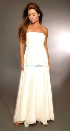 Very simple wedding dress with empire waistline for pregnant brides. Strapless neckline with soft A-line chiffon skirt keeps this dress of casual and relaxed look. Colors available in Color Options. Custom-to-measurement for any sizes.