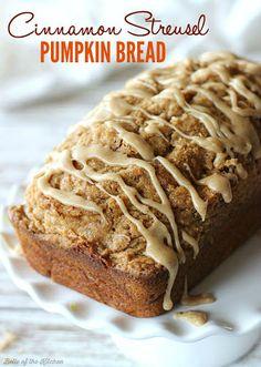 Cinnamon Streusel Pumpkin Bread with Maple Glaze Recipe on Yummly. @yummly #recipe