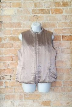 90's Retro Silvery Lightweight Quilted Vest Large by NoVeto