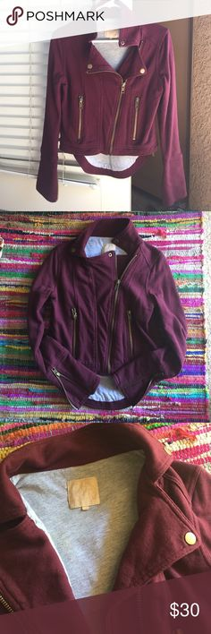 Hi-Lo Moto Sweater Jacket Oxblood color, hits at waist and back part hits at derrière. Lines in a sweater cotton, super warm and stylish at the same time! Purchased at Nordstrom, antique gold hardware. Zippered sleeves. Jackets & Coats