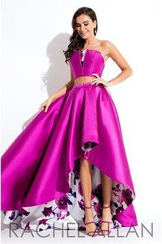 Rachel Allan 7576 Magenta Floral Prom Dress