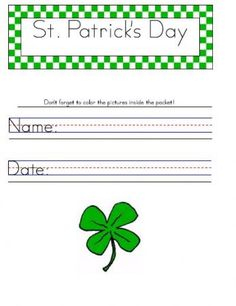 Holiday Saint Patricks Day Handwriting Worksheet Manuscript Zaner Bloser