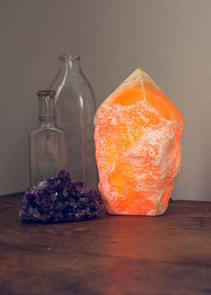 Natural orange calcite stone point lamp by SoulMakes 2