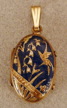 1900s HUMMINGBIRD LOCKET Victorian Enamel gold filled Charm Pendant Double photo lilly of the valley on Etsy, $134.99