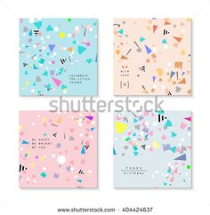 Collection of party cards and invitations. Birthday backgrounds with confetti. Vector