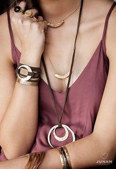 Leather wrap bracelet with gold JUNAM circle, hoop pendant, leather, wrapped bracelet, unisex jewelry, circle symbol, 100% handmade, BOHO
