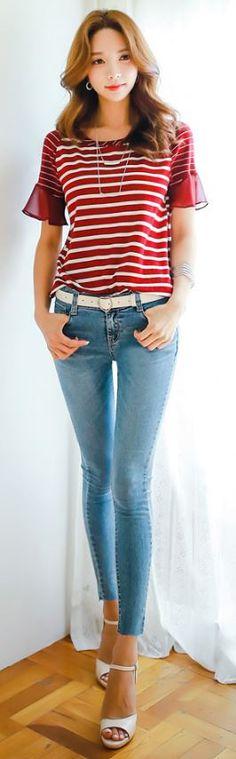StyleOnme_Raw Hem Skinny Jeans #blue #wash #skinny #jeans #koreanfashion…