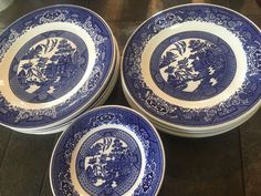 Royal China Blue Willow Ware VINTAGE Plate Lot of 16 Plates in 3 Sizes #RoyalChina