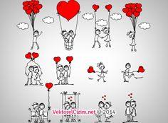 Vektörel Çizim | Aşk, Sevgililer Günü, Düğün Davetiye Görselleri