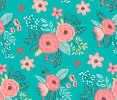 Teal Blue Flowers Fabric - Vintage Inspired Antique Floral Flowers Larger Size By Caja Design - Vintage Flowers Fabric With Spoonflower Motif Floral, Floral Flowers, Vintage Flowers, Fabric Flowers, Floral Prints, Floral Patterns, Blue Flowers, Lino Prints, Block Prints