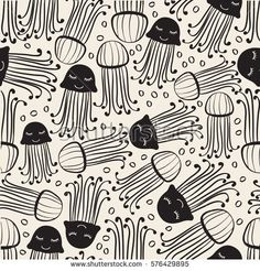 seamless monochrome hand drawn jelly fish with bubble pattern background
