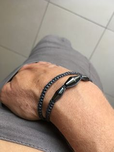 Sono entusiasta di condividere questo articolo del mio negozio #etsy: Double wrap macrame bracelet, Hematite stone, gifts for men boyfriend gift girlfriend gift unisex gifts, free shipping, urban style, Gift Girlfriend, Boyfriend Gifts, Unisex Gifts, Friends With Benefits, Macrame Bracelets, Bracelets For Men, Urban Fashion, Wrap, Stone