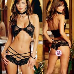 b29f98758a7f3 New Black Sexy Lingerie Lace Bra Bikini Set G-String (Waistline. qianzhihe  fashion