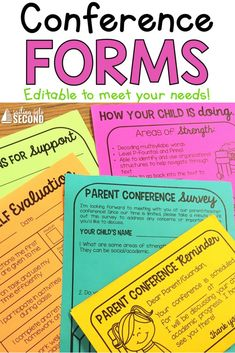 Parent conferences can sometimes be a stressful time for both teachers and parents, so I've compiled some easy and editable parent conference resources to help your conferences go smoothly this year! Classroom Organization Labels, Classroom Management Tips, Classroom Decor, 3rd Grade Writing, Third Grade, Parent Teacher Conference Forms, Student Led Conferences, Parent Communication, Parents As Teachers